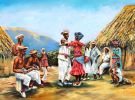 Slaven (of vrijen) dansen de Tambu. Olieschilderij van Piet Vervoord.